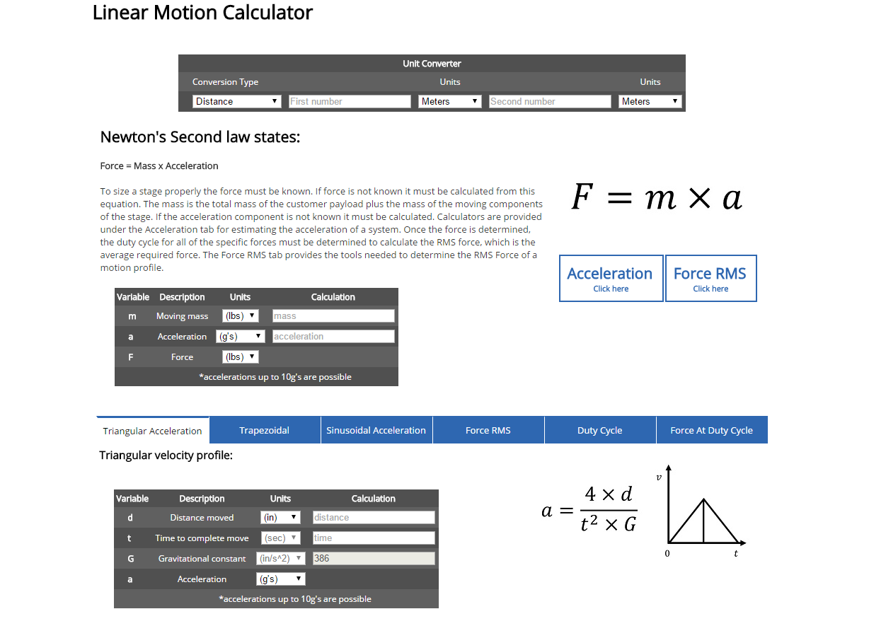 image of New Linear Motion Calculator